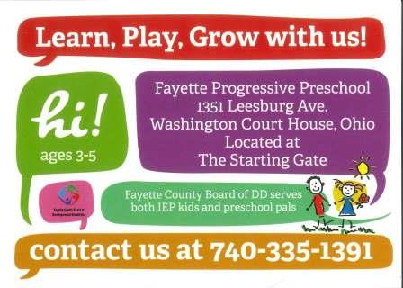 Fayette Progressive School Enrollment Invitation